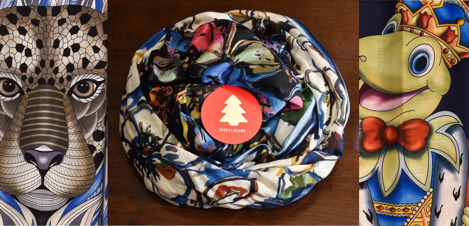 Regali di Natale per lui - sciarpe opere d'arte cachemire seta fantasia