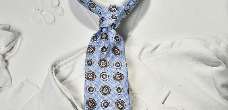 light blue silk tie man
