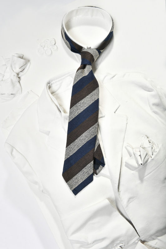 brown grey and blue regimental tie for man