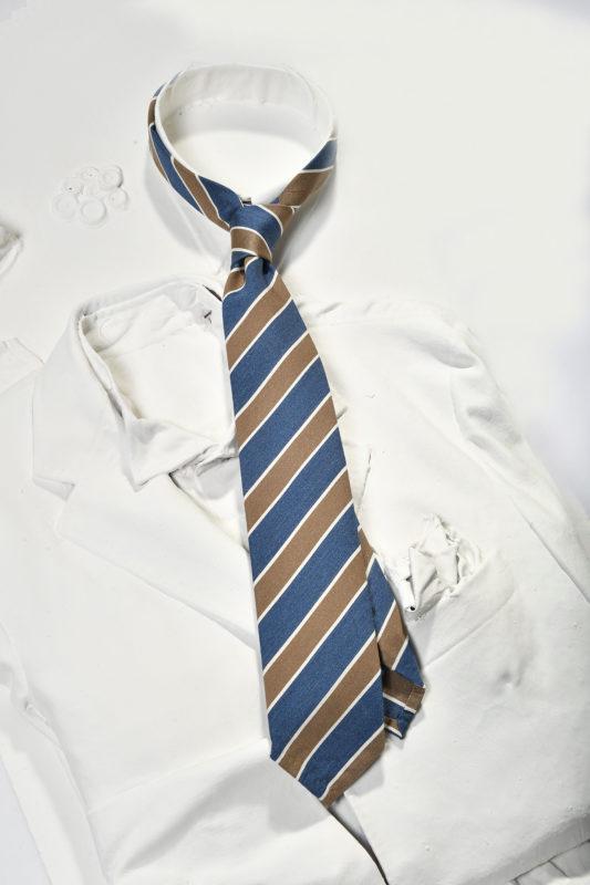 blue and brown regimental tie