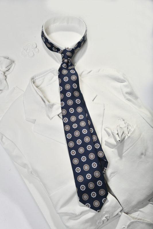 blue silk tie geometric pattern