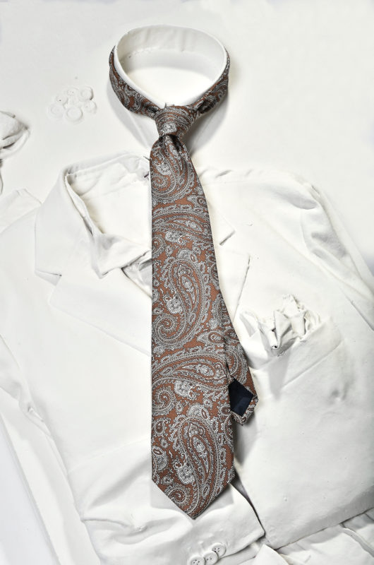 white and brown silk tie cachemire pattern