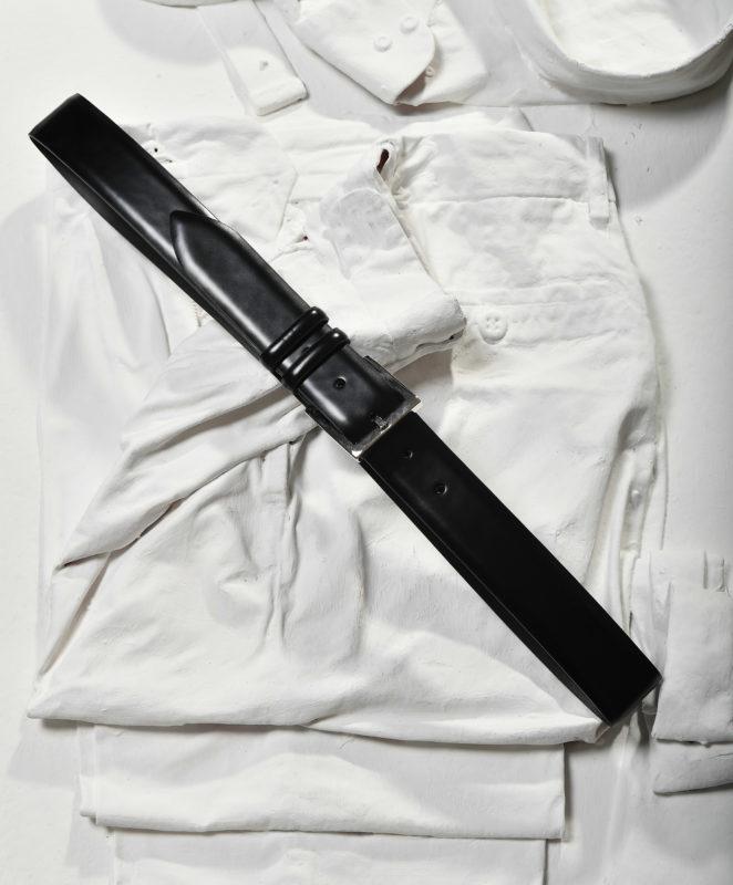 Cintura maschile formale nera in pelle