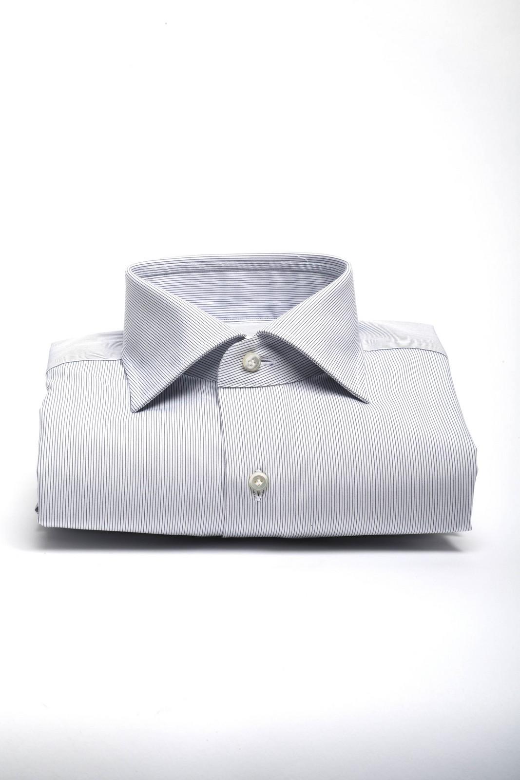 gherardi camicia riga sottile blu