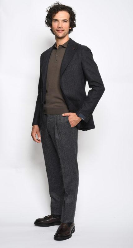 Maglia Drumohr marrone in lana merino superfine