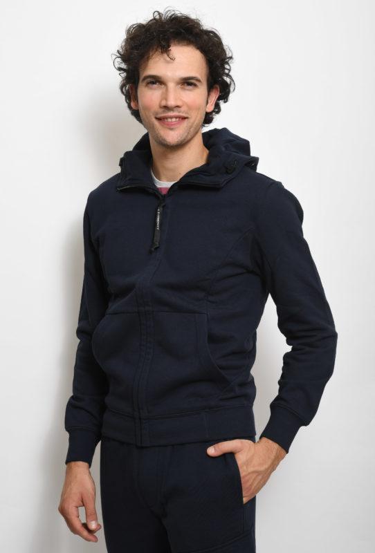 Felpa C.P. Company Blu con cappuccio Goggle