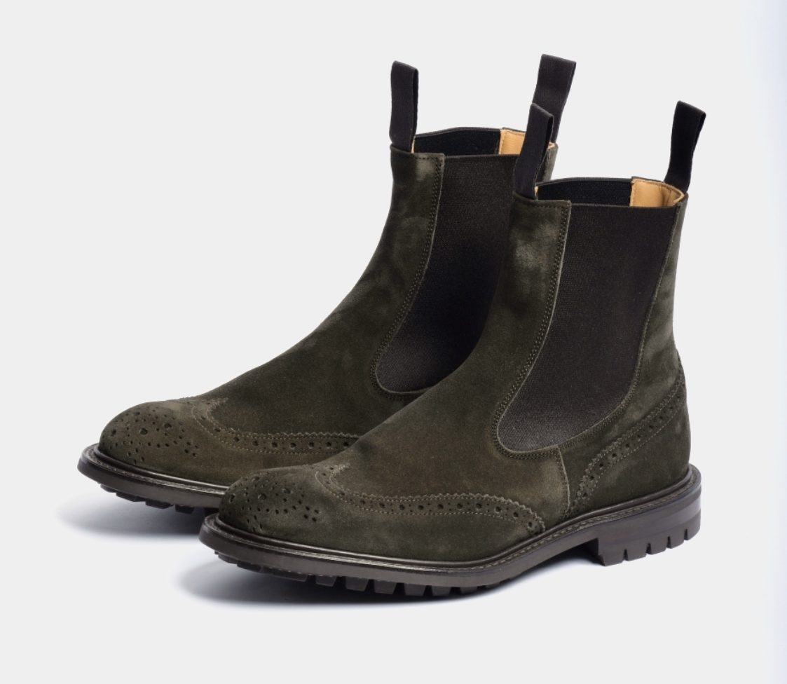 Trickers stivaletto suede verde full brouge