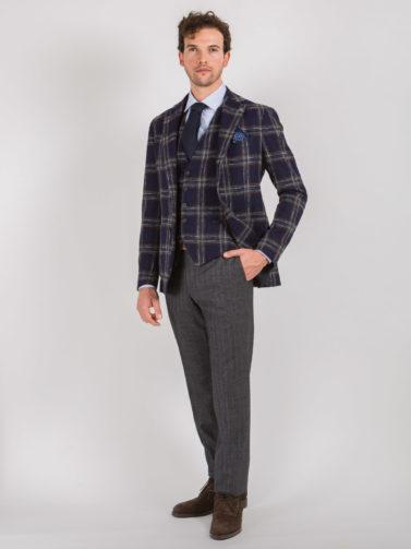 Tagliatore giacca check blu