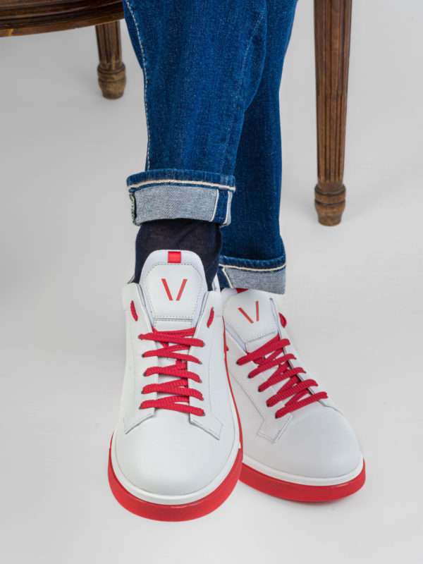 V DESIGN SNEAKER WHITE/RED