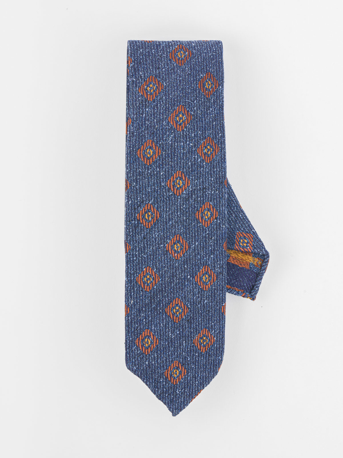 DRAKE'S BLUE AND OCHRE TIE