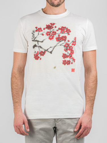 LARDINI T-SHIRT PEACH FLOWERS
